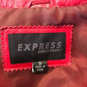 Express Jackets & Coats - Vintage Red Leather Jacket Small Belt Boho Hippie